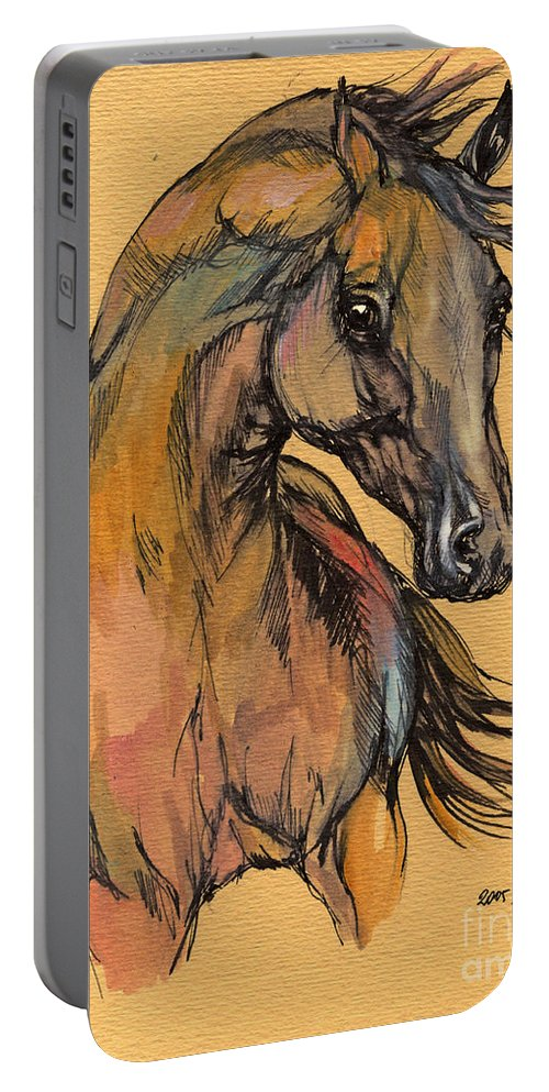 Portable Battery Charger featuring the painting The Bay Arabian Horse 9 by Angel Ciesniarska