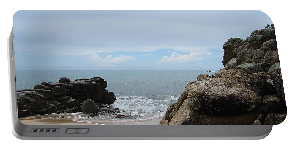 Sand Ocean Clouds Blue Sky Rocks Portable Battery Charger featuring the photograph The Beach 2 by Luciana Seymour