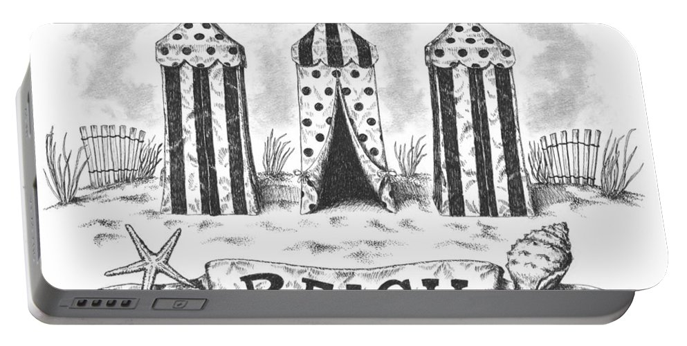 Black Portable Battery Charger featuring the drawing The Beach by Adam Zebediah Joseph