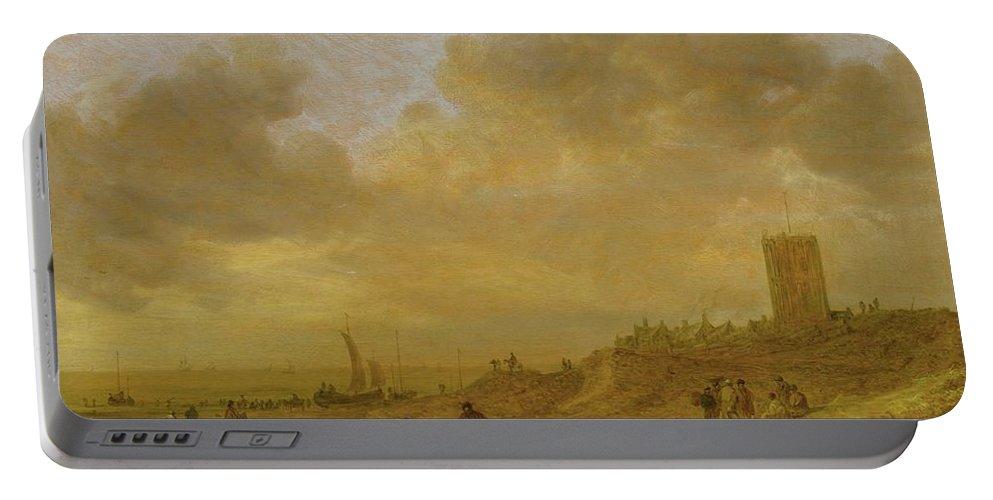 Jan Josefsz. Van Goyen The Beach At Egmond Aan Zee Portable Battery Charger featuring the painting The Beach At Egmond Aan Zee by MotionAge Designs