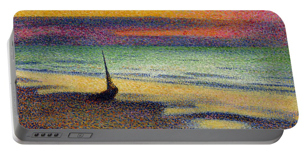 The Portable Battery Charger featuring the painting The Beach At Heist by Georges Lemmen