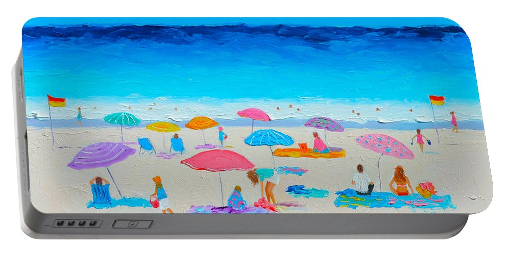 Beach Portable Battery Charger featuring the painting The Beach Holiday by Jan Matson