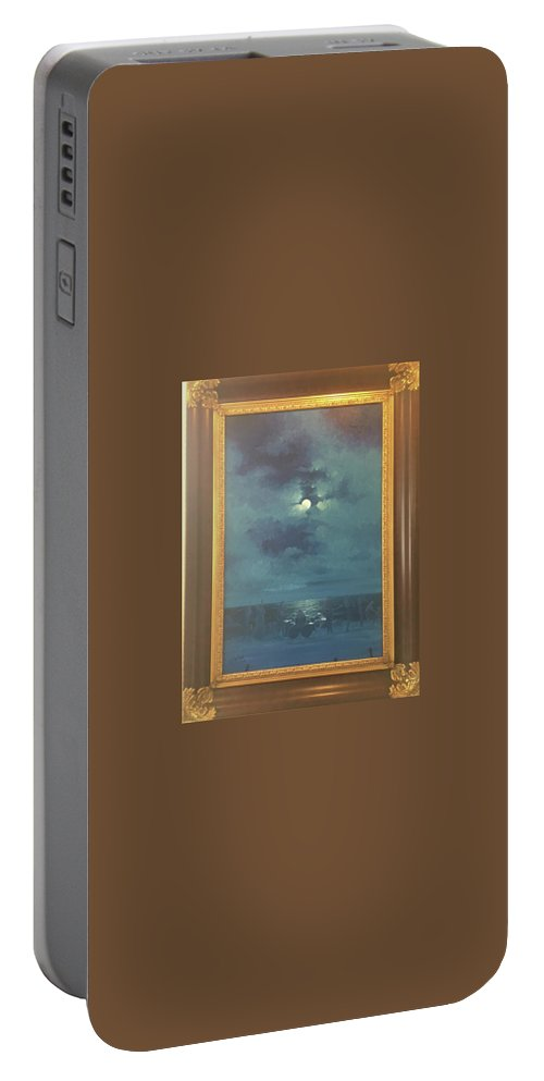 Moon Light At Beach Portable Battery Charger featuring the painting The Beach by Ray Pazekian