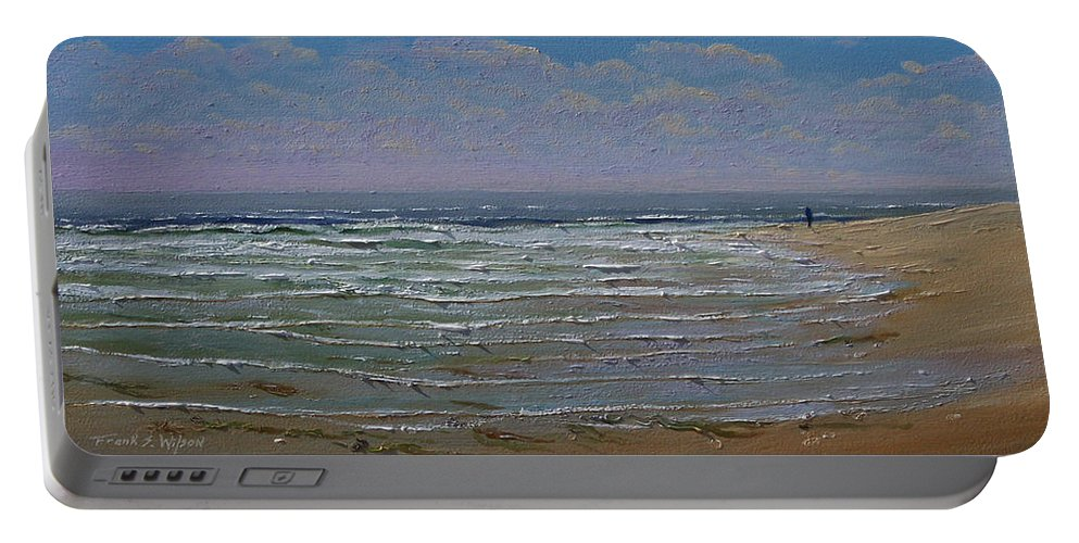 Seascape Portable Battery Charger featuring the painting The Beachcomber by Frank Wilson