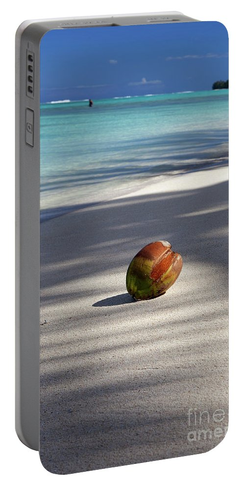 Coconut Portable Battery Charger featuring the photograph The Beaches Of Rarotonga by Simon Bradfield