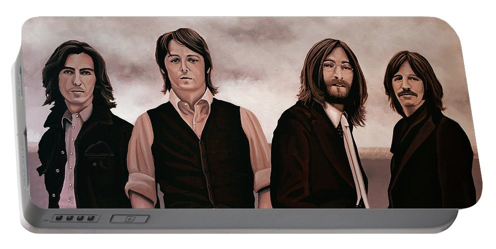 The Beatles Portable Battery Charger featuring the painting The Beatles 3 by Paul Meijering