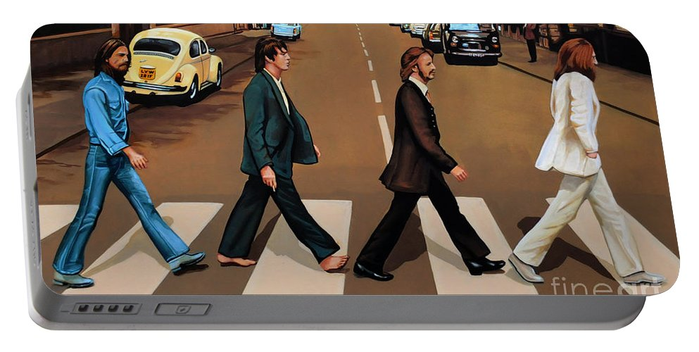 The Beatles Portable Battery Charger featuring the painting The Beatles Abbey Road by Paul Meijering