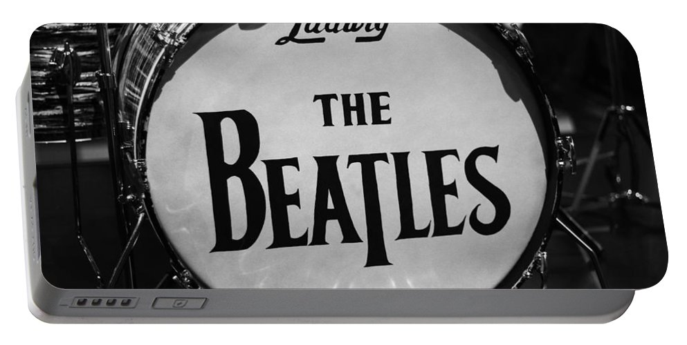 The Beatles Drum Portable Battery Charger featuring the photograph The Beatles Drum by Dan Sproul