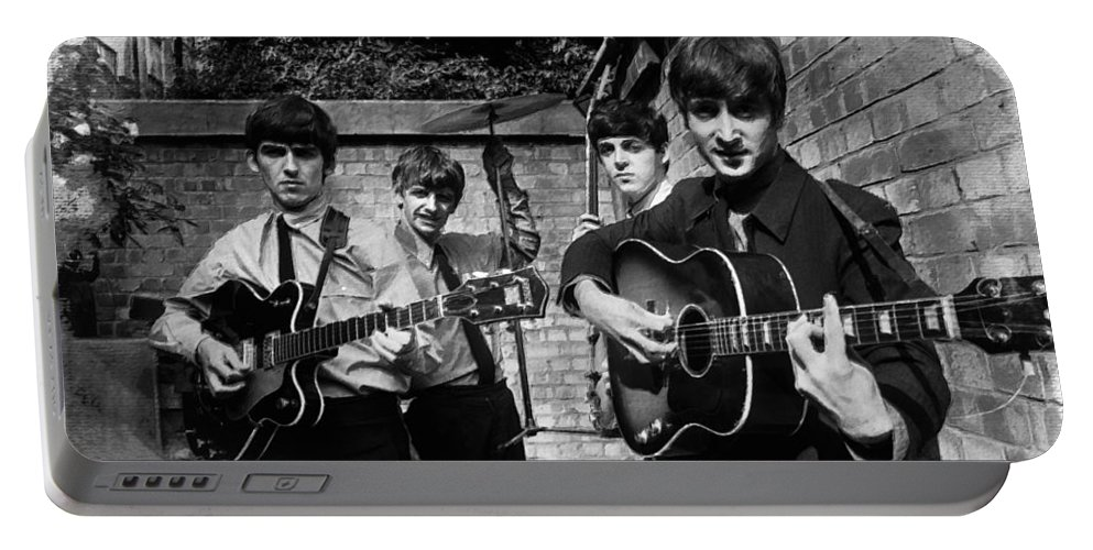 The Beatles Portable Battery Charger featuring the painting The Beatles In London 1963 Black And White Painting by Tony Rubino