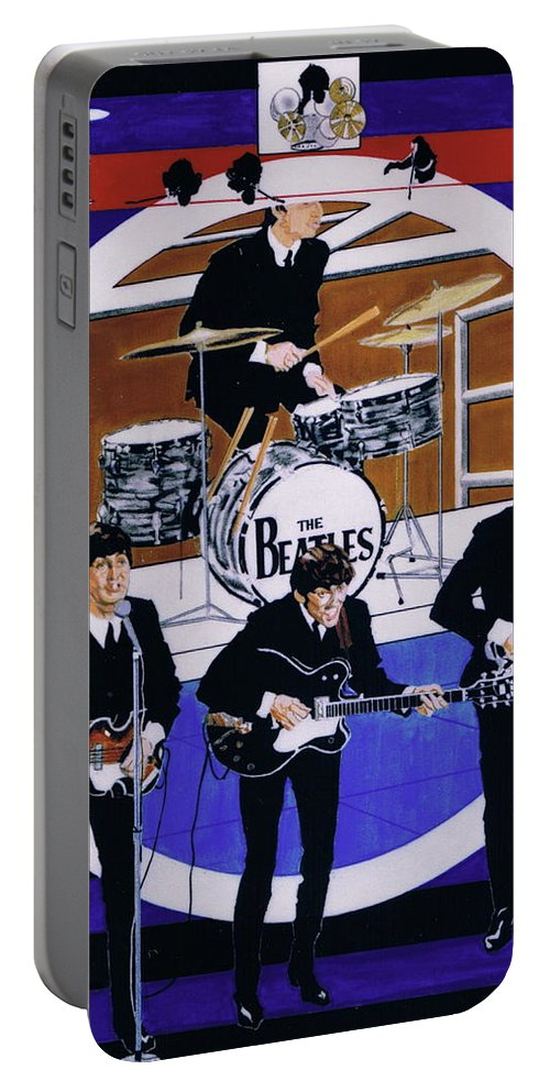1960s Portable Battery Charger featuring the drawing The Beatles - Live On The Ed Sullivan Show by Sean Connolly