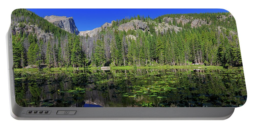 Colorado Portable Battery Charger featuring the photograph The Beautiful Nymph Lake With Reflection And Clear Water by Chon Kit Leong