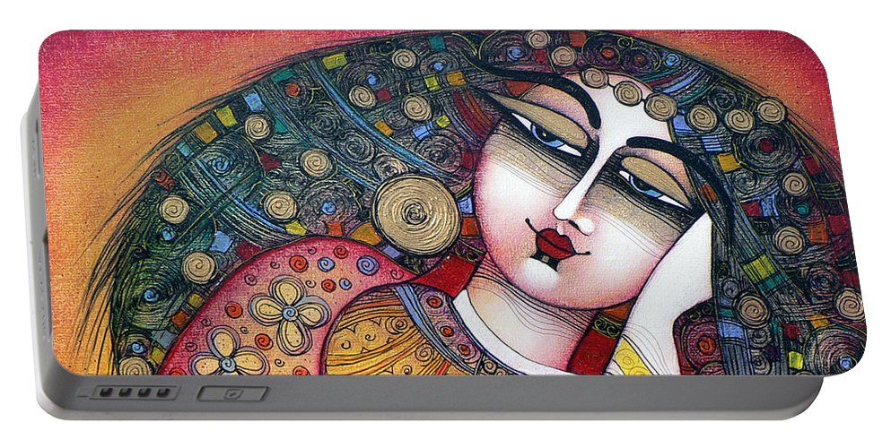 Art Portable Battery Charger featuring the painting The Beauty by Albena Vatcheva