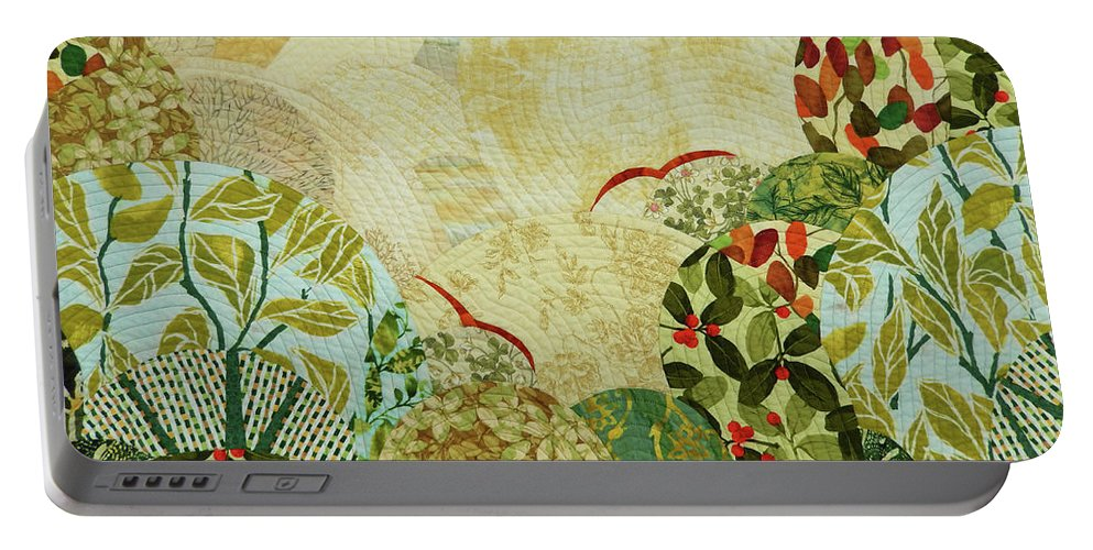 Landscape Portable Battery Charger featuring the tapestry - textile The Beginning of the Journey by Linda Beach