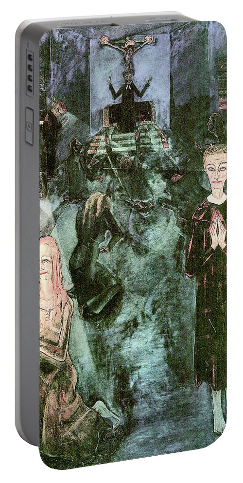 Women Portable Battery Charger featuring the painting The Beichte By Walter Gramatte by Walter Gramatte