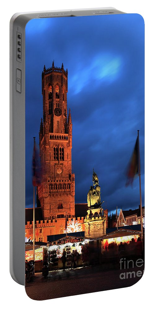 Belfort Portable Battery Charger featuring the photograph The Belfort Tower, Belfry, Bruges City, West Flanders by Dave Porter