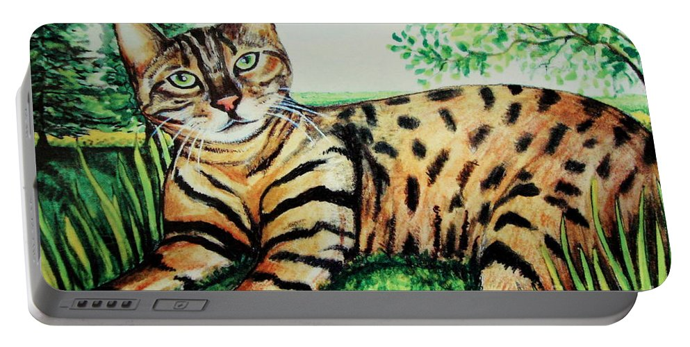 Cat Portable Battery Charger featuring the painting The Bengal by Elizabeth Robinette Tyndall