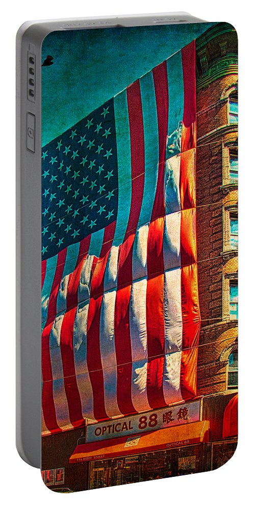 America Portable Battery Charger featuring the photograph The Big Big Flag by Chris Lord