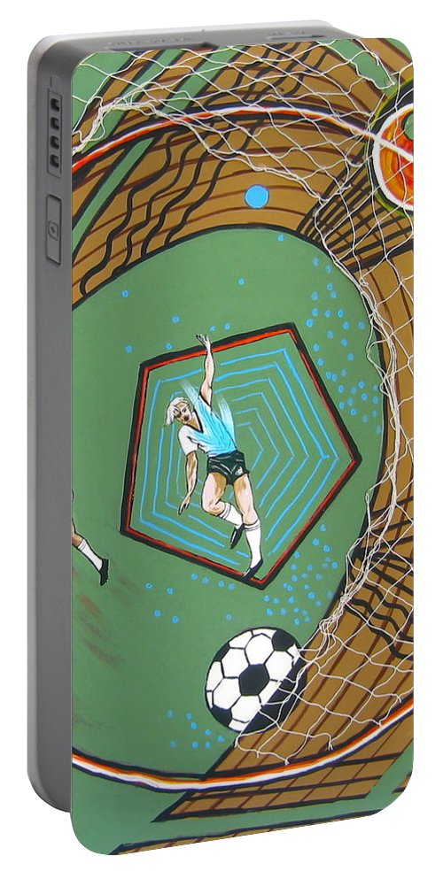 Abstract Sports Portable Battery Charger featuring the painting The Big Kick by V Boge