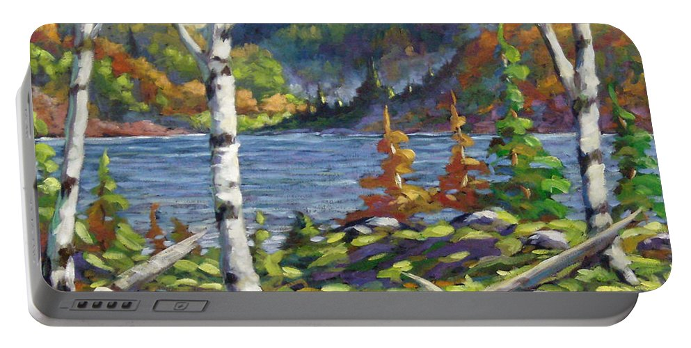 Art Portable Battery Charger featuring the painting The Birches by Richard T Pranke
