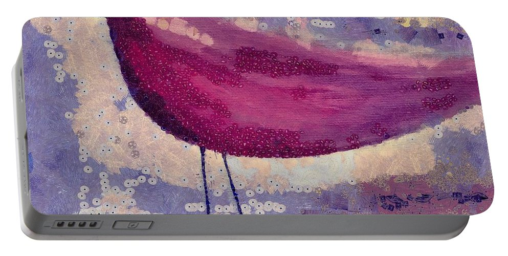 Pink Portable Battery Charger featuring the painting The Bird - K0912b by Variance Collections