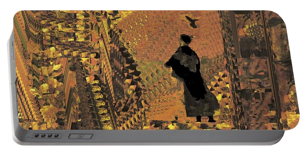 Digital Art Portable Battery Charger featuring the digital art The Bird Lady by Nancy Kane Chapman