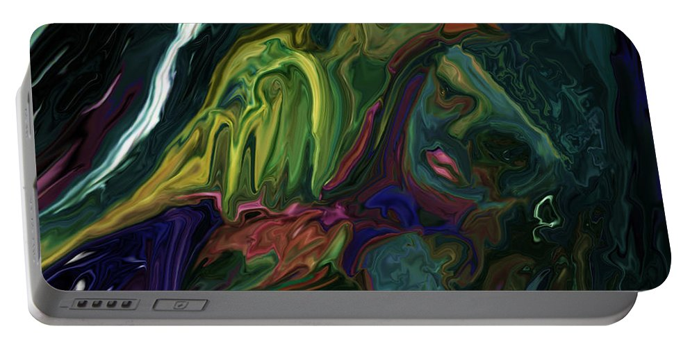 Abstract Portable Battery Charger featuring the digital art The Bird Man by Rabi Khan