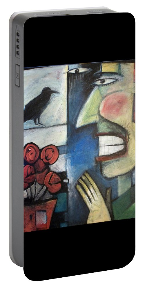 Bird Portable Battery Charger featuring the painting The Bird Watcher by Tim Nyberg