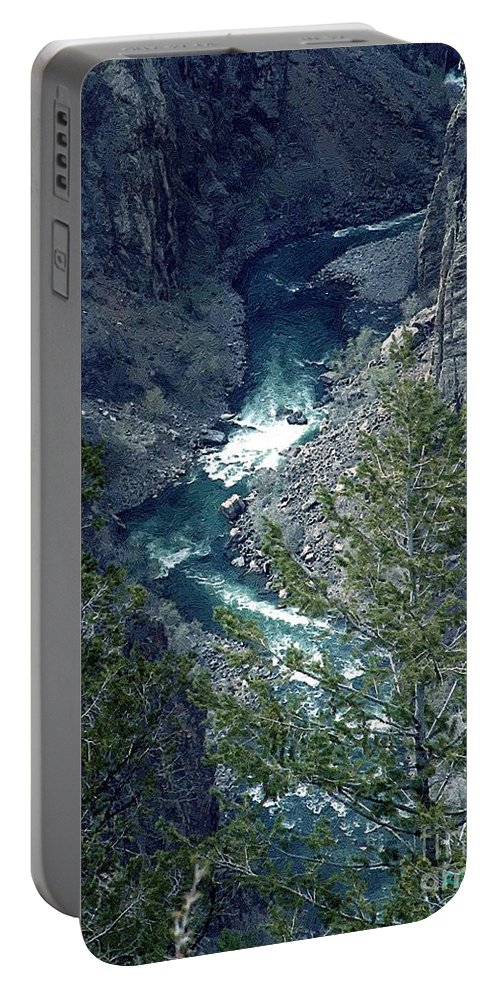 Canyon Portable Battery Charger featuring the painting The Black Canyon Of The Gunnison by RC DeWinter