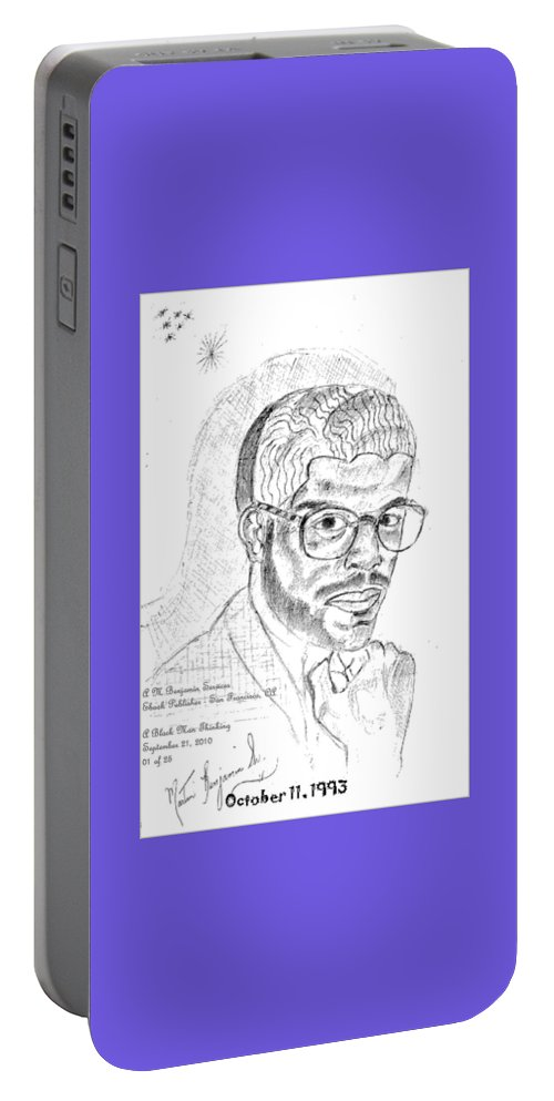 Drawing Of Black Man Face Portable Battery Charger featuring the digital art The Black Thinker by Anthony Benjamin