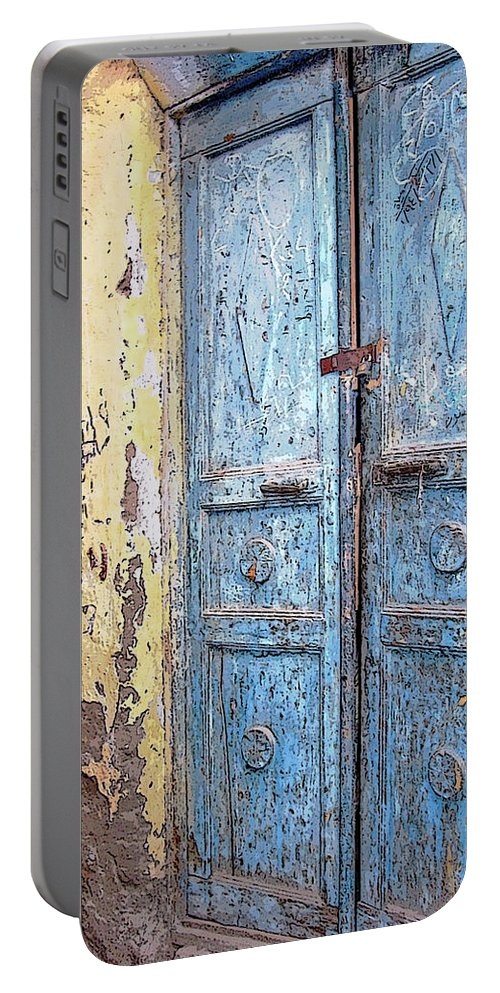 Aswan Portable Battery Charger featuring the photograph The Blue Doors Nubian Village by Debbie Oppermann
