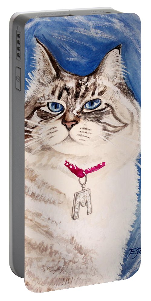 Cat Portable Battery Charger featuring the painting The Blue-eyed Ragdoll by Elizabeth Robinette Tyndall