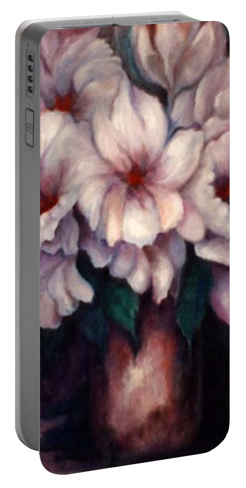 Blue Flowers Portable Battery Charger featuring the painting The Blue Flowers by Jordana Sands