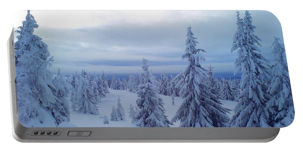 Trees Portable Battery Charger featuring the photograph The Blue Hour by Are Lund