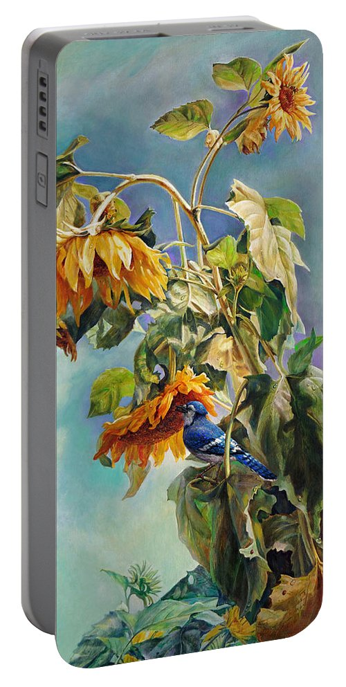 Sunflower Portable Battery Charger featuring the painting The Blue Jay Who Came To Breakfast by Svitozar Nenyuk