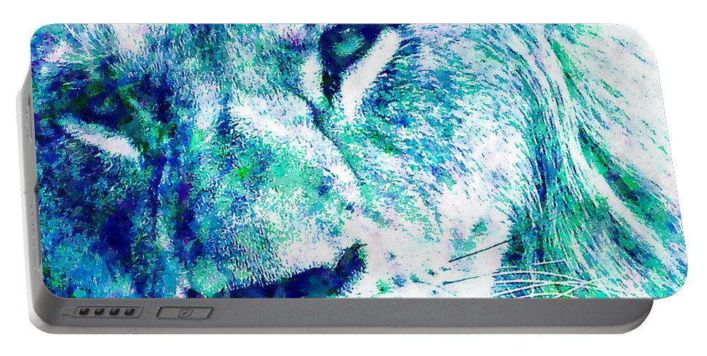 Lion Portable Battery Charger featuring the mixed media The Blue Lion by Stacey Chiew