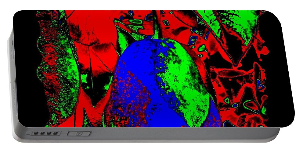 Abstract Portable Battery Charger featuring the digital art The Blue Pear by Will Borden