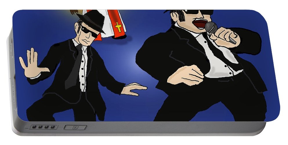 Blues Brothers Portable Battery Charger featuring the digital art The Blues Brothers by Kev Moore
