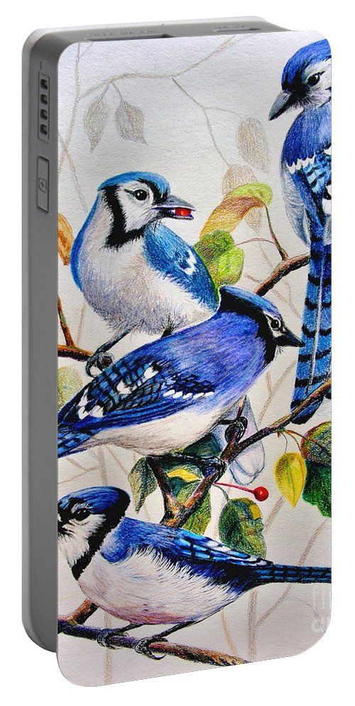 Bluejays Portable Battery Charger featuring the drawing The Blues by Marilyn Smith
