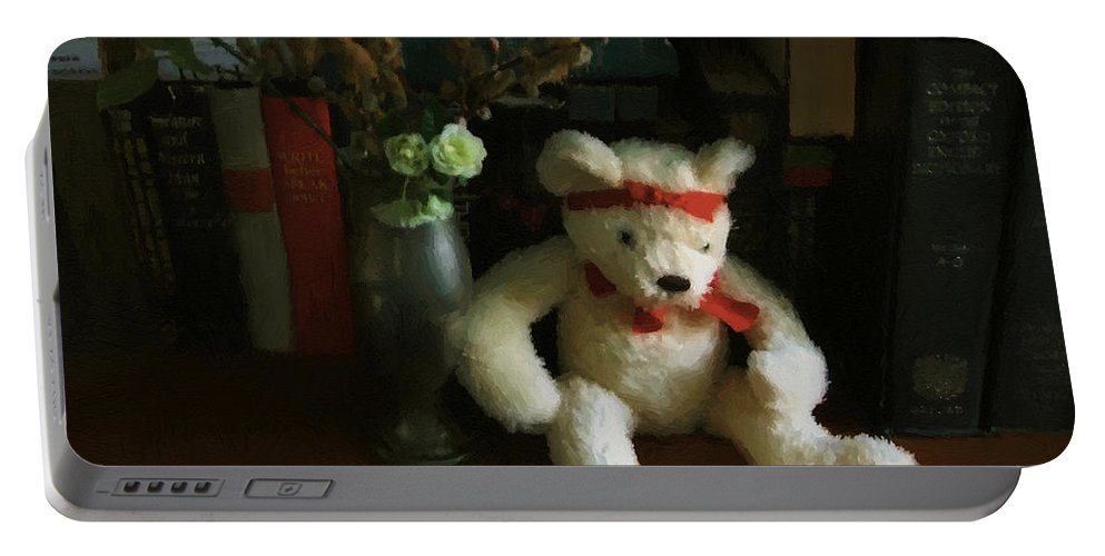 Bear Portable Battery Charger featuring the digital art The Book Bear by RC DeWinter
