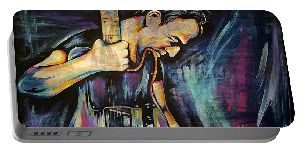 The Boss Portable Battery Charger featuring the painting The Boss Bruce Springsteen by Amy Belonio