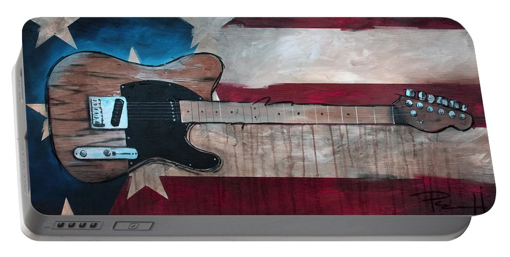 Bruce Springsteen Portable Battery Charger featuring the painting The Boss by Sean Parnell