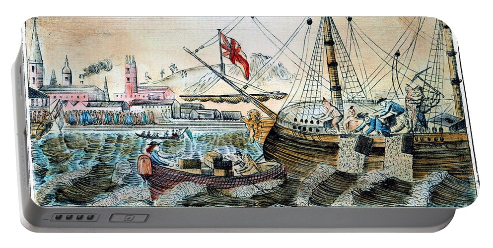 1773 Portable Battery Charger featuring the photograph The Boston Tea Party, 1773 by Granger