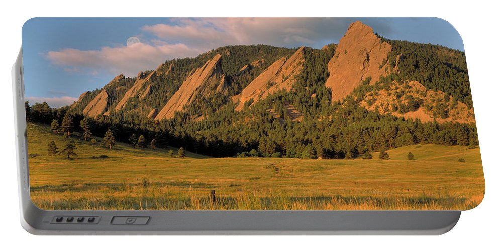 Boulder Portable Battery Charger featuring the photograph The Boulder Flatirons by Jerry McElroy
