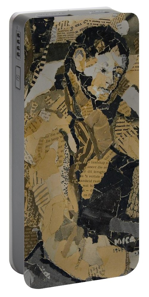 Portrait Portable Battery Charger featuring the mixed media The Boy In The Red Waistcoat by Mica Leiner