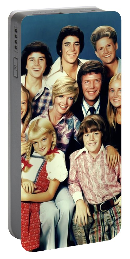 Brady Portable Battery Charger featuring the digital art The Brady Bunch by Mary Bassett