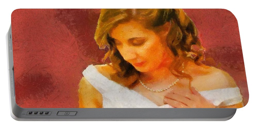 Wedding Portable Battery Charger featuring the painting The Bride To Be by Jeffrey Kolker