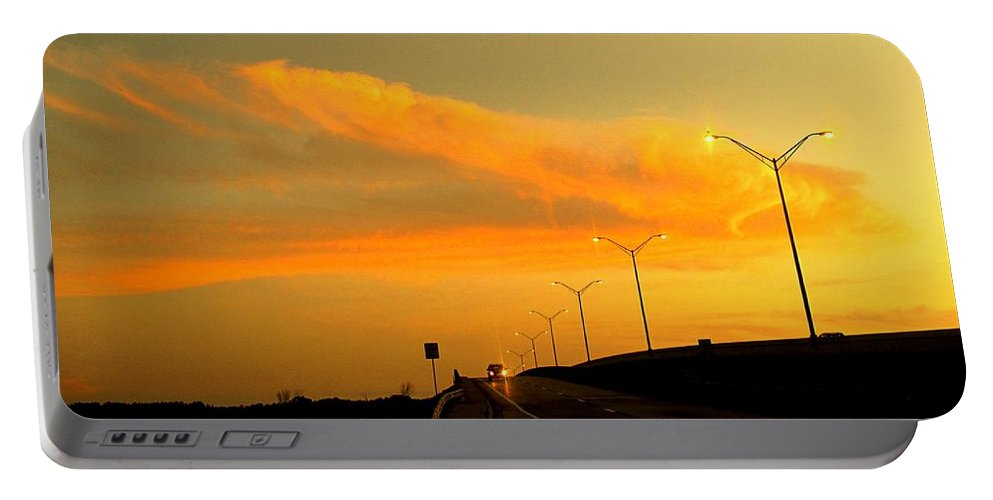 Sunset Portable Battery Charger featuring the photograph The Bridge At Sunset by Ian MacDonald