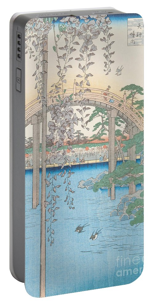 Wooden; River; Tokyo; Flowers; Plant; Blossom Portable Battery Charger featuring the drawing The Bridge With Wisteria by Hiroshige