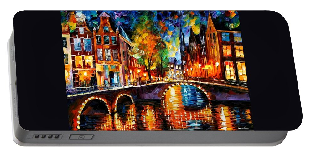 Afremov Portable Battery Charger featuring the painting The Bridges Of Amsterdam by Leonid Afremov