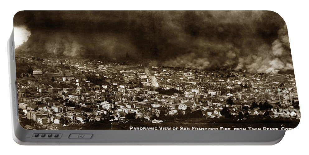 The Burning Of San Francisco Portable Battery Charger featuring the photograph The Burning Of San Francisco Panoramic View Of San Francisco From Twin Peaks April 1906 by California Views Archives Mr Pat Hathaway Archives